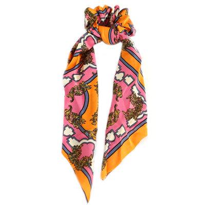 Scrunchie scarf pink orange