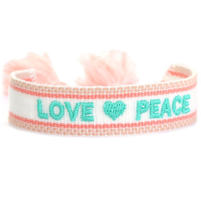 Gewebtes armband love & peace
