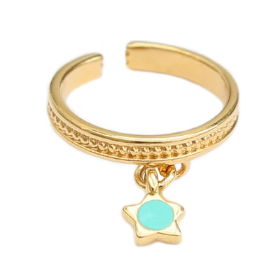 Ring turquoise star gold
