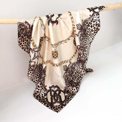 Satin Bandana-Schal leo chain creme