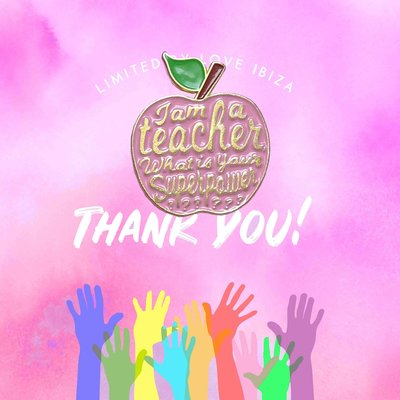 Pin it up emaille pins thank you teacher pink