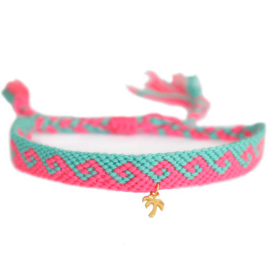 Fußketten cotton waves pink turquoise gold palm