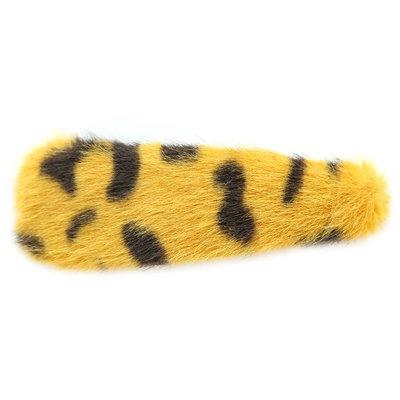 Haarspange faux fur leopard yellow