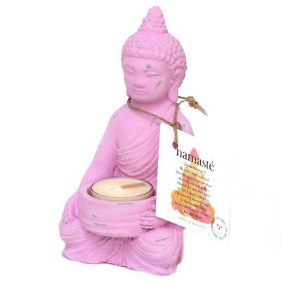 Buddha Teelichthalter pink