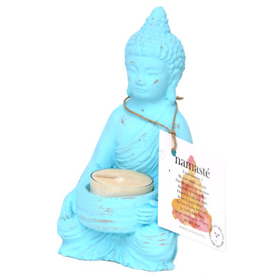 Buddha Teelichthalter türkis