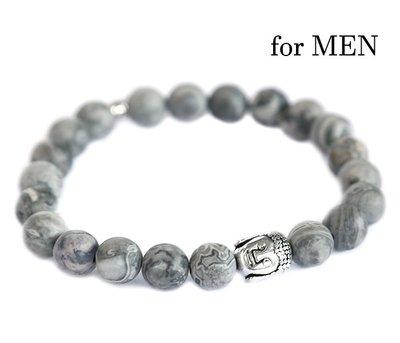 Buddha armband grey gemstone for men