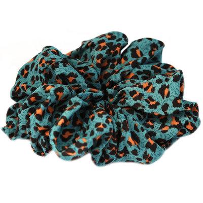 Scrunchie large minty leopard