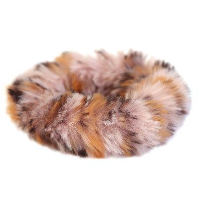 Scrunchie faux fur leopard pink