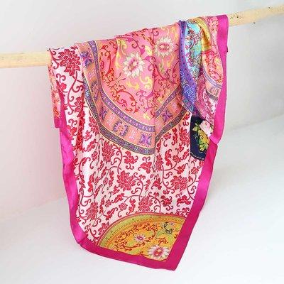Satin Bandana-Schal barok pink
