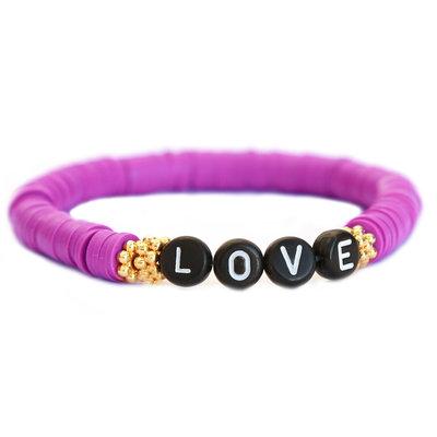 Winter armband LOVE prune