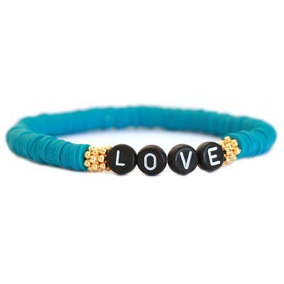 Winter armband LOVE teal