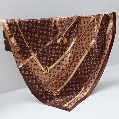 Satin Bandana-Schal LV chain brown