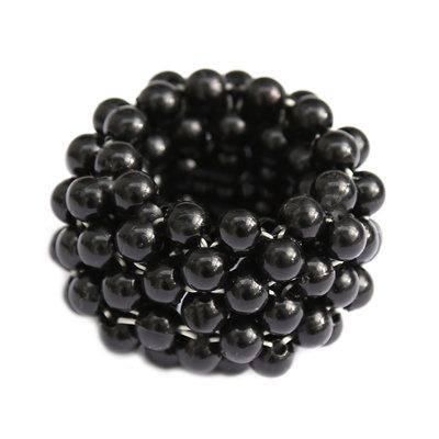 Haargummi schwarze Perle