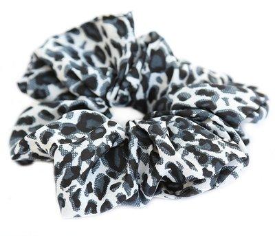 Scrunchie baumwolle leopard grau